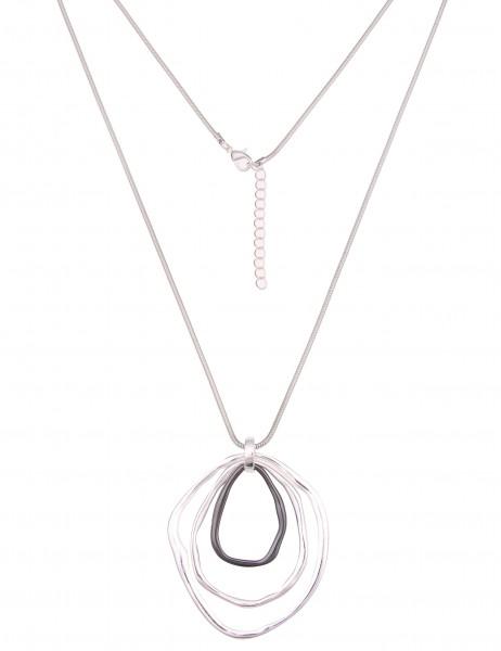 Leslii Damen-Kette Swing Ring Silber Schwarz Metalllegierung Hochglanz 84cm + Verlängerung 220116585
