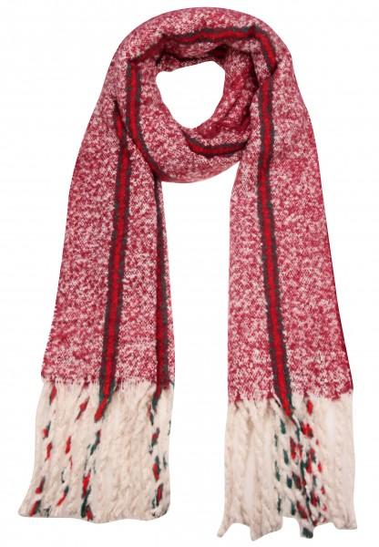 -50% SALE Leslii Damen XXL-Schal Streifen Muster 100% Polyester 192cm x 51cm Rot Grün 900317155