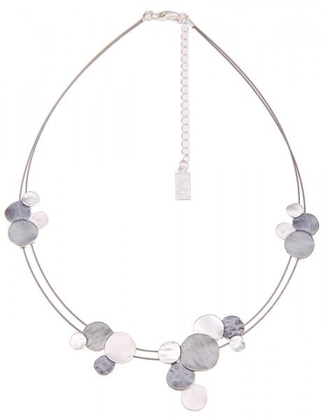 Leslii Damekette Doppel-Reif aus Metalllegierung Matt Hochglanz Länge 42cm in Silber Grau