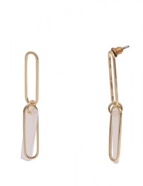 Leslii Damen-Ohrringe Ohrhänger Glanz Glieder-Look weiße Statement-Ohrringe goldene Modeschmuck-Ohrr