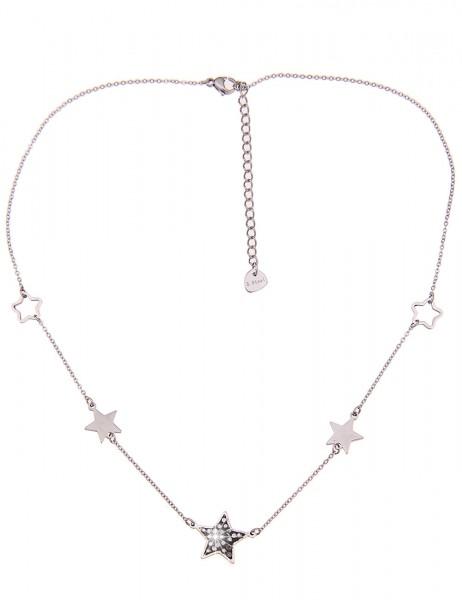 Leslii Damen-Kette Black Star Silber Schwarz Edelstahl Strass 41cm + Verlängerung 210116864