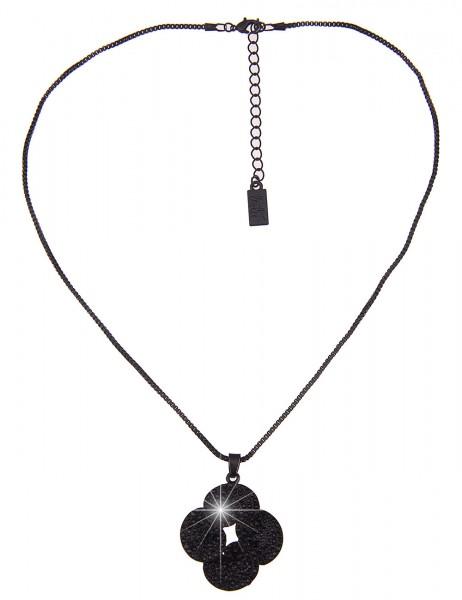 Leslii Damenkette Glitzer Blume aus Metalllegierung mit Strass Länge 45cm in Schwarz