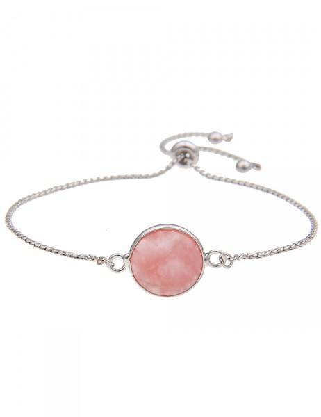 Leslii Damen-Armband Naturstein Rund Pink Silber Länge verstellbar 210316081
