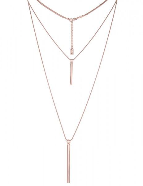 Leslii Damenkette Stab Duo aus Metalllegierung Hochglanz Länge 88cm in Rosé
