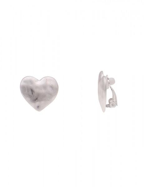 Leslii Damen-Ohrringe Ohr-Clip Matt Herz Silber Muster Metalllegierung 2cm 230116367