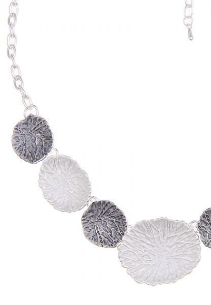 Leslii Halskette Casual Chic Silber Grau | kurze Damen-Kette Mode-Schmuck | 43cm + Verlängerung
