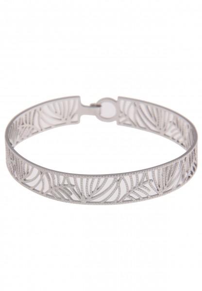 Leslii Damenarmband Armreif Tropen Blätter-Muster Natur Armschmuck Modeschmuck-Armband Länge 19cm in