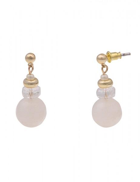 Leslii Damen-Ohrringe Ohrhänger weiße Stein-Ohrringe Stein-Schmuck goldene Modeschmuck-Ohrringe Ohrs