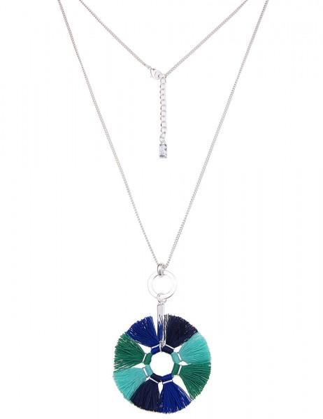 -50% SALE Leslii Damen-Kette Bommel-Ring Grün Blau Textil Metalllegierung 83cm + Verlängerung 22011