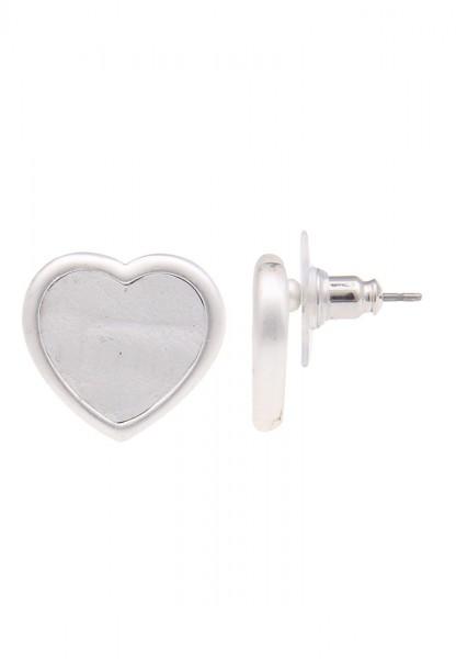 -70% SALE Leslii Ohrstecker Leder Herz Weiß | Trendige Damen-Ohrringe | Mode-Schmuck | Länge: 1,5cm