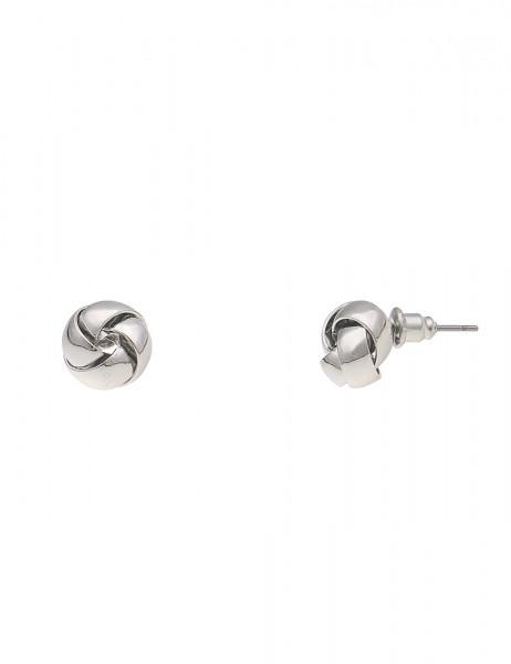 Leslii Damenohrring Ohrstecker Glanz Knoten aus Metalllegierung Größe 1cm in Silber
