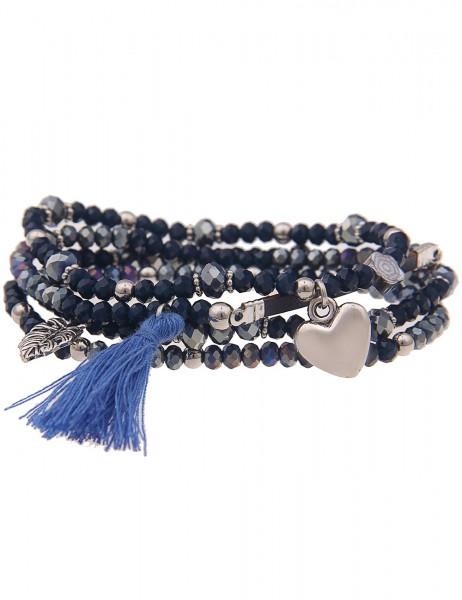 Leslii Damen-Armband 4er Set Statement-Armband Quaste Tassel Herz Blatt Glasperlen blaues Modeschmuc