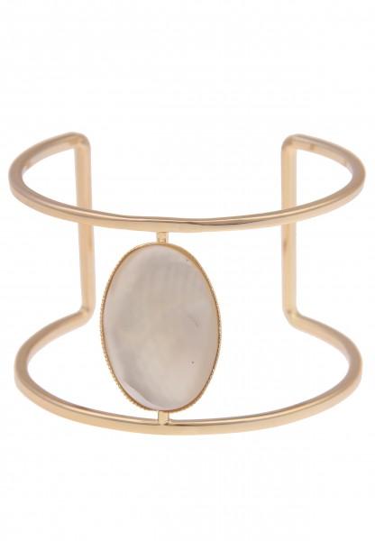 Leslii Damen-Armband XXL-Armreif Oval Perlmutt-Look breites Armband Armschmuck goldenes Modeschmuck-