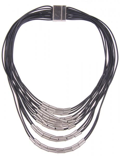 -70% SALE Leslii Halskette Statement Bänder Schwarz Silber | kurze Damen-Kette Mode-Schmuck | 57cm m