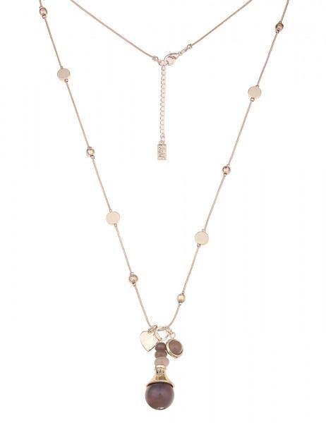 Leslii Damenkette Stein Kugel aus Metalllegierung mit Naturstein Größe 83cm in Gold Grau