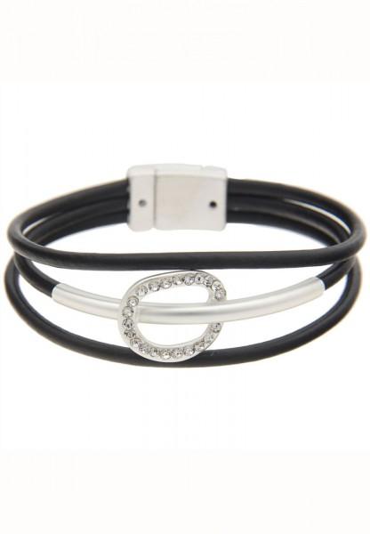 LAST CHANCE! Leslii Armband Leder Belt in Silber Schwarz