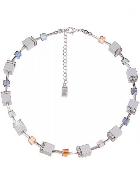 Leslii Premium Quality Halskette Glitzer Würfel Silber | kurze Damen-Kette Mode-Schmuck | 45cm + Ver