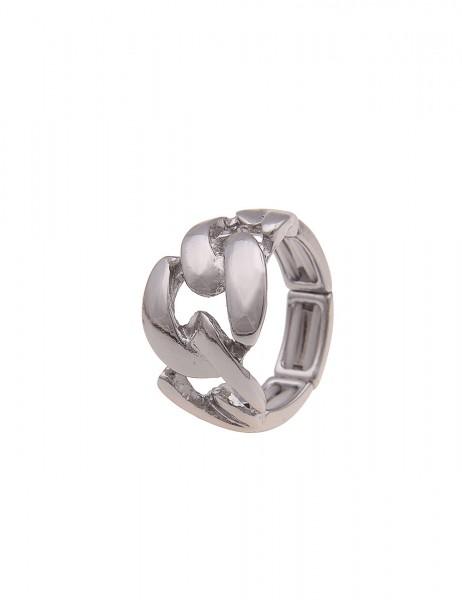 Leslii Damen-Ring Stretch-Ring Statement-Ring Glieder-Ring silberner Modeschmuck-Ring Hochglanz Größ