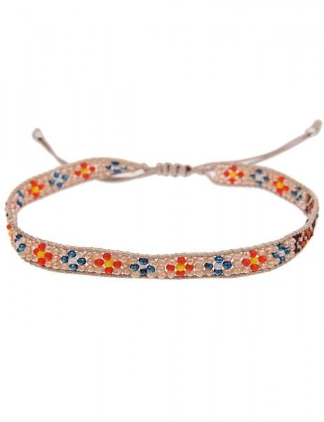 Leslii Damen Wickelarmband Web-Muster aus Textil mit Glasperlen Länge verstellbar in Beige Bunt