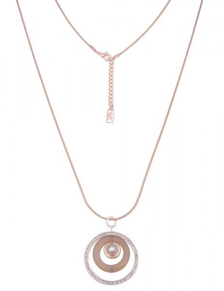 Leslii Damen-Kette Glitzer Ring-Anhänger echter Stein-Ring Bicolor lange Halskette Modeschmuck-Kette