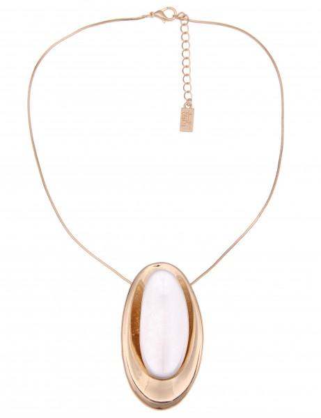 Leslii Damen-Kette Bicolor Oval Gold Silber Metalllegierung 40cm + Verlängerung 210116350