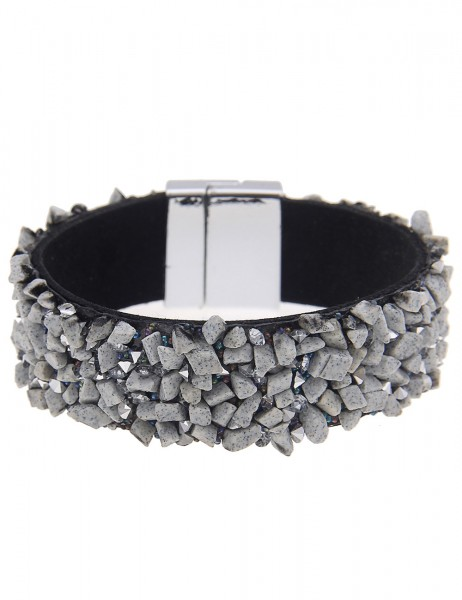 -70% SALE Leslii Armband Statement Steinsplitter Grau | Damen-Armband Mode-Schmuck | Länge: 19cm