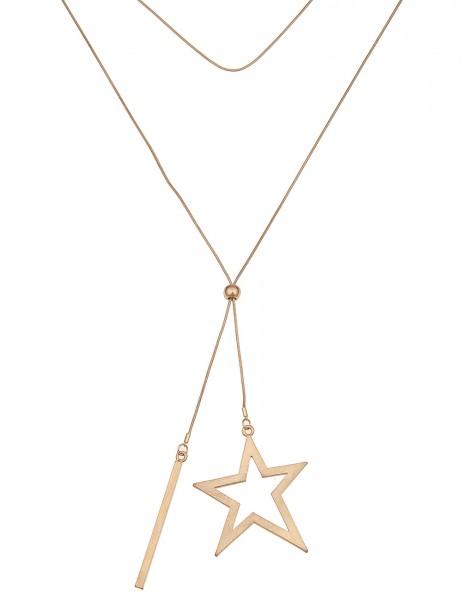 -50% SALE Leslii Damenkette Sternen Stab aus Metalllegierung Länge 84cm in Matt Gold