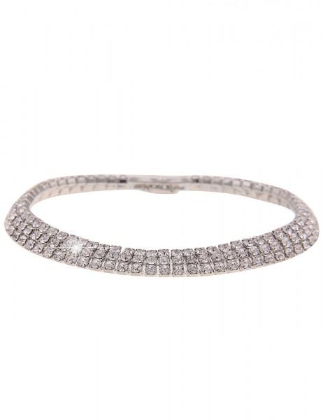 Leslii Damen-Armband Glitzer Strass-Armband Statement-Armband silbernes Modeschmuck-Armband Armschmu