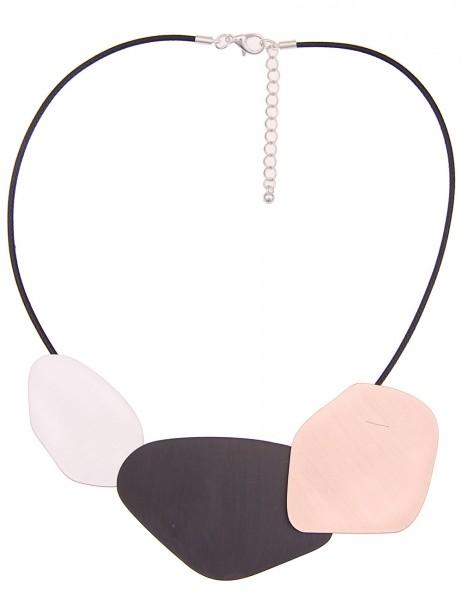 Leslii Damen-Kette Tricolor Look Silber Schwarz Rosé Metalllegierung Textil 47cm + Verlängerung 2101