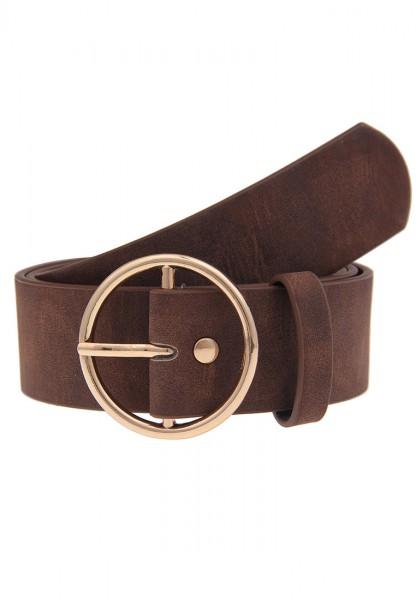 -40%Sale Leslii Uni Rundschnalle Braun | Trendiger ausgefallener Gürtel | Damen Mode-Accessoire | 3,