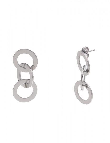 Leslii Damenohrringe Ohrhänger Premium Glanz Ringe aus Metalllegierung Länge 3cm in Silber