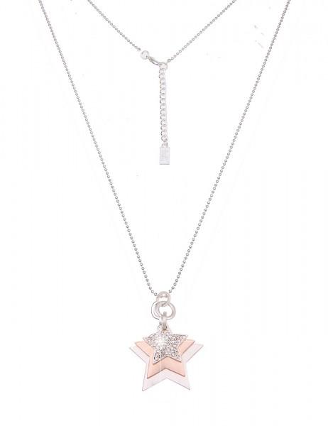 -50% SALE Leslii Damen-Kette Bicolor Sterne Silber Rosé Metalllegierung Strass 83cm + Verlängerung 2