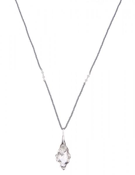 Leslii Damenkette Glanzstück Halskette lange Kette Damen Modeschmuck aus Perlchen mit Metalllegierun