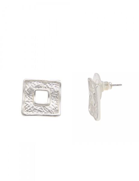 Leslii Damen-Ohrringe Muster Quadrat Silber Metalllegierung 1,5cm 230116224