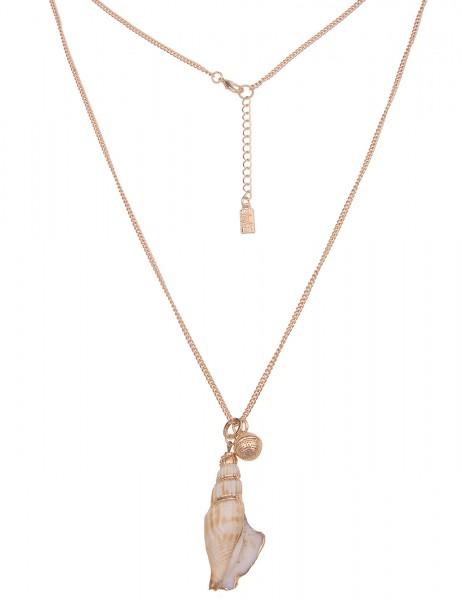 Leslii lange goldene Damen-Kette mit Natur Muschel-Anhänger