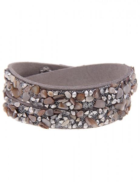 Leslii Wickel-Armband Stein-Splitter Hellgrau | Damen-Armband Mode-Schmuck | Länge: 40cm verstellbar