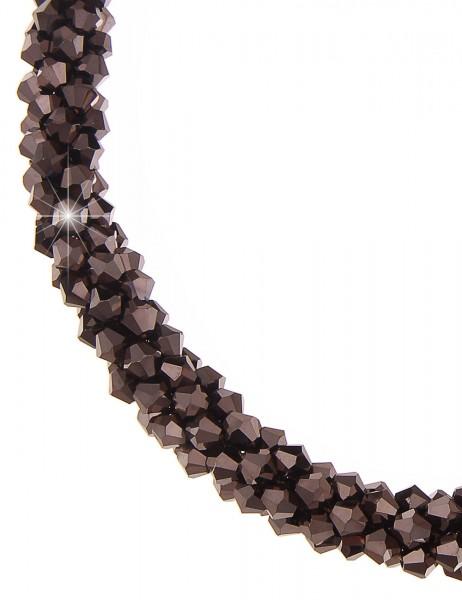 Leslii Halskette Statement Glasperlen Braun | kurze Damen-Kette Mode-Schmuck | 46cm mit Magnet-Versc