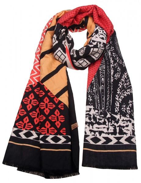 Leslii Damen Schal Muster Mix XXL-Schal weicher Winterschal bunt Größe 180cm x 90cm in Schwarz Rot B