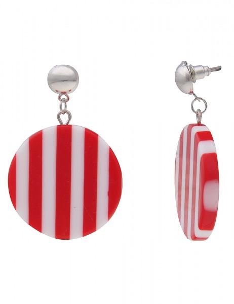 Leslii Damenohrringe Ohrhänger Stripes Round aus Metalllegierung mit Kunststoff Länge 4,5cm Rot Weiß