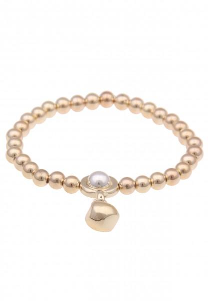 Leslii Damenarmband Kugel-Armband Bicolor Stretch-Armband Armschmuck Modeschmuck Länge 19cm in Gold