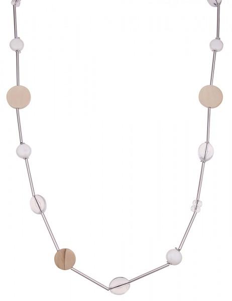 Leslii Damenkette Rodeo Style aus Metalllegierung mit Holz Länge 90cm in Weiß Silber Beige