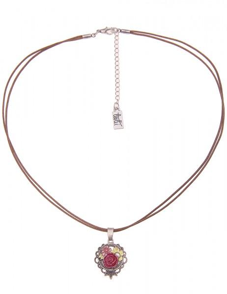 Leslii Damenkette Blumen-Kette Filigran Dirndl-Kette Oktoberfest Textil-Band kurze Halskette Modesch