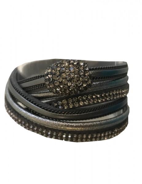 -50% SALE Leslii Damen Wickel Armband Strass Look Lederimitat 39cm mit Magnet-Verschluss Grau 260116