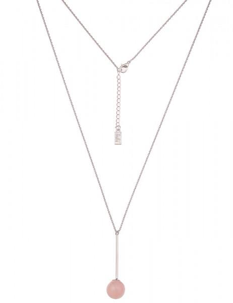 Leslii Damen-Kette Rosenquarz Silber Rosa Metalllegierung Naturstein 85cm + Verlängerung 220216641