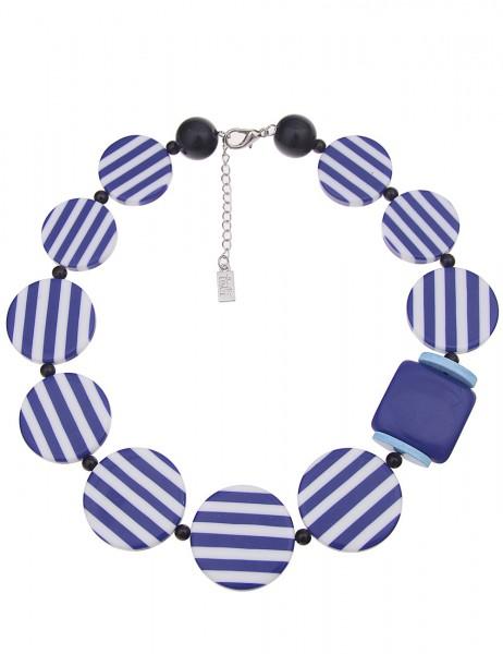 Leslii Damenkette Statement Stripes Round aus Kunststoff Länge 50cm in Blau Weiß