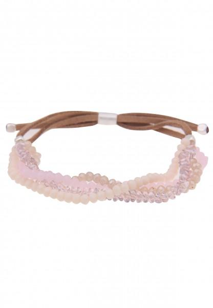 Leslii Damenarmband Glasperlen Style veganes Lederarmband Modeschmuck-Armband Länge 19cm in Braun Ro