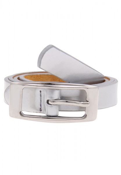 Leslii Schmal Metallic Look Silber| Trendiger ausgefallener Gürtel | Damen Mode-Accessoire | 2cm bre