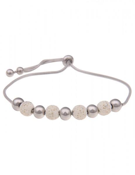 Leslii Damenarmband Lava Kugeln Lavastein Natur Modeschmuck-Armband Länge individuell einstellbar in