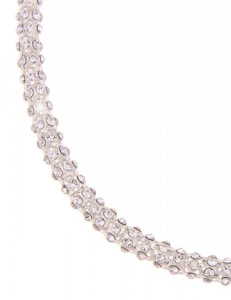 Leslii Halskette Glitzer Celebration Silber | kurze Damen-Kette Mode-Schmuck | 45cm mit Magnet-Versc