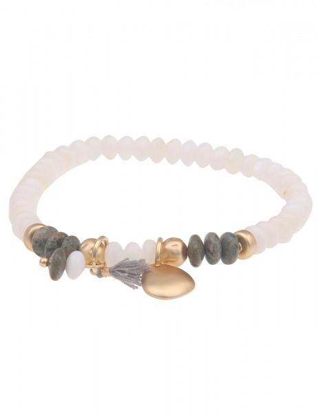 Leslii Damen-Armband Filigran Stein-Armband Natur-Stein mattierter Armschmuck weißes Modeschmuck-Arm